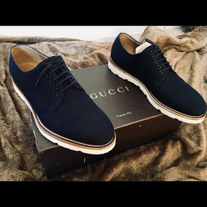 GUCCI 'JOOS' CANVAS OXFORD BUCK LACE UP SHOE AUTH